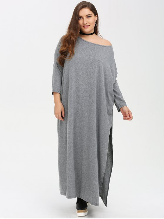 affordable Plus Size High Slit Maxi Dress - GRAY 3XL