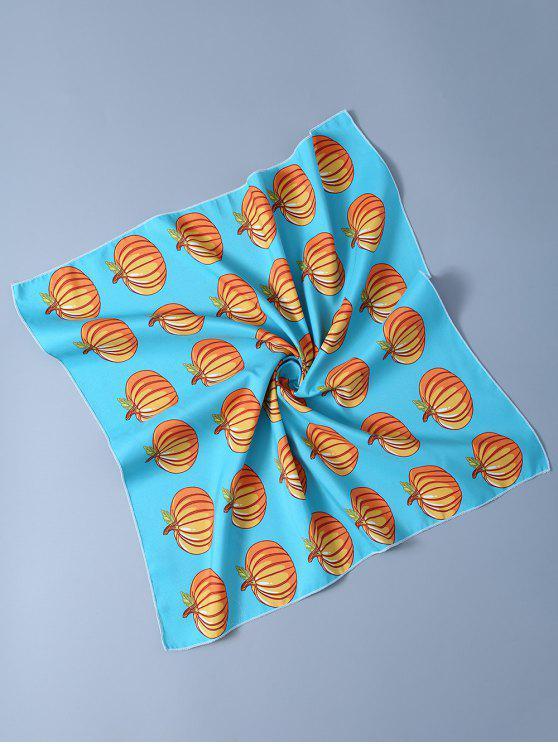 Echarpe mouchoir imprimé citrouille Toussaint - Bleu clair