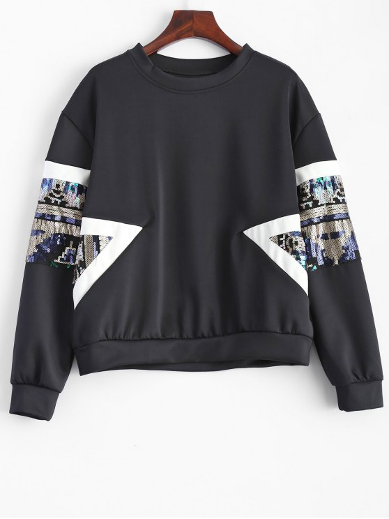 Sweat-shirt à paillettes ras du cou - Noir L