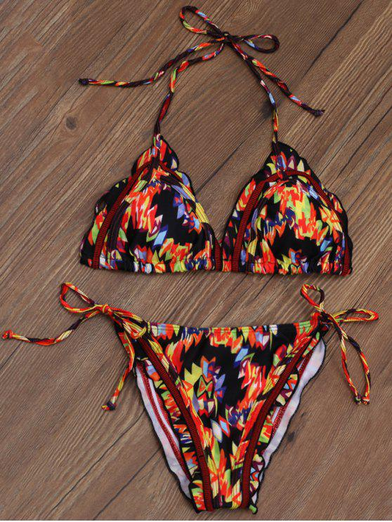 Imprimé Tie Side Plunge Stringy Bikini - Multicouleur L
