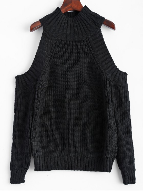 Embudo con hombros cuello Jumper - Negro Única Talla