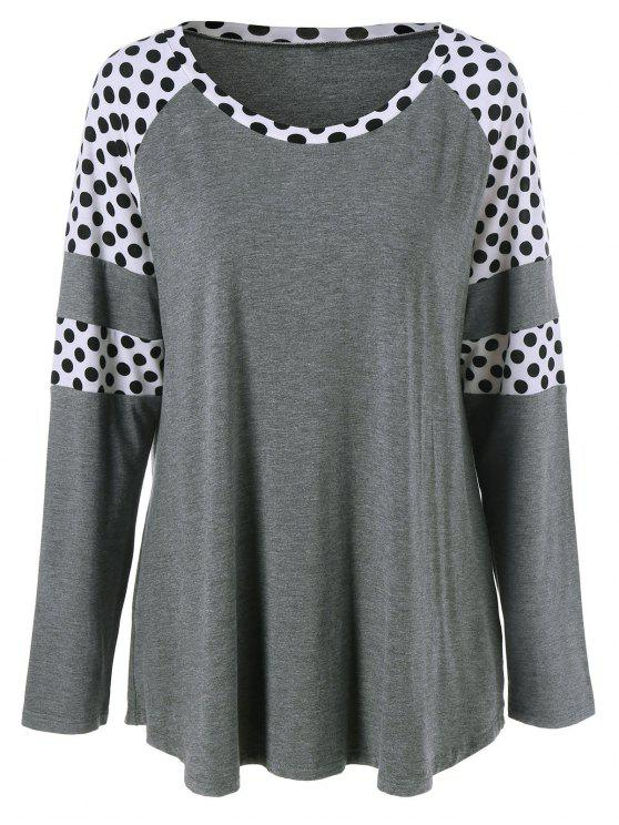 womens Polka Dot Patchwork Plus Size Tee - GREY AND WHITE 2XL