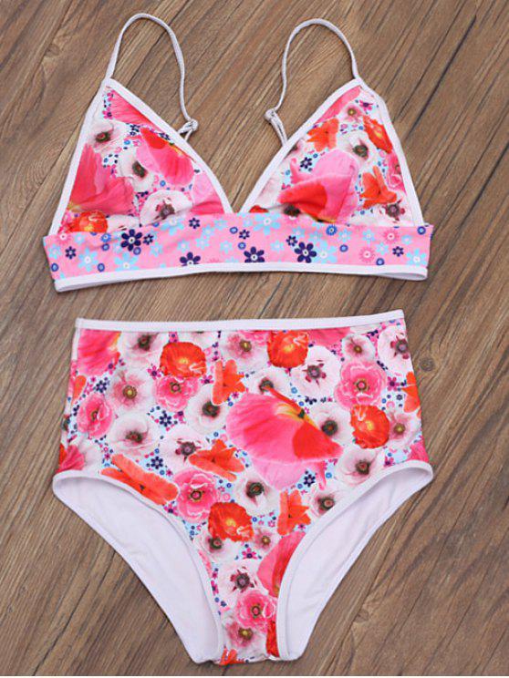 online Floral Print Low Cut Bikini Set - FLORAL M