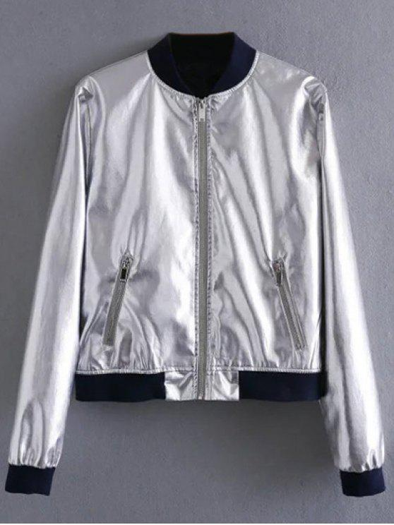 hot Metallic Colored Bomber Jacket - SILVER M
