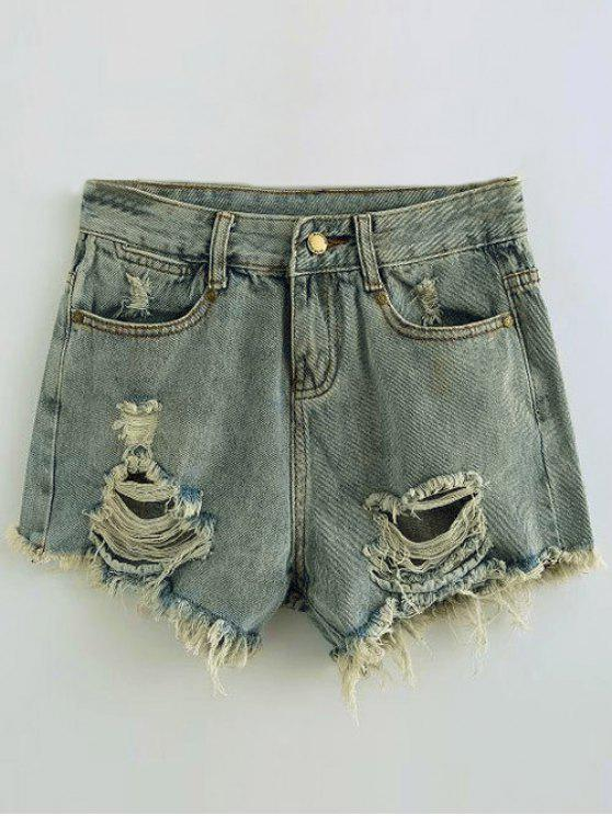 trendy Ripped Denim Hot Pants - LIGHT BLUE S