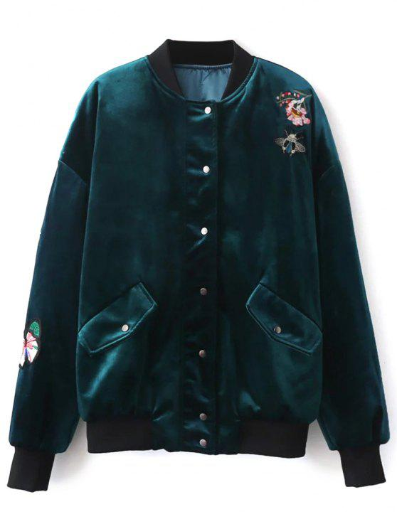 outfits Embroidered Single Breasted Velvet Jacket - PEACOCK BLUE L