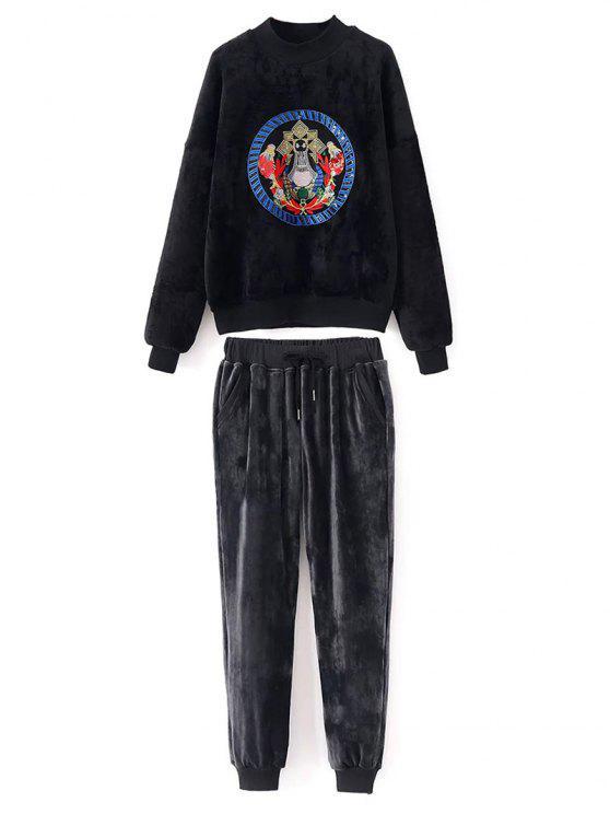 Brodé Velvet Sweatshirt et pantalon - Noir L