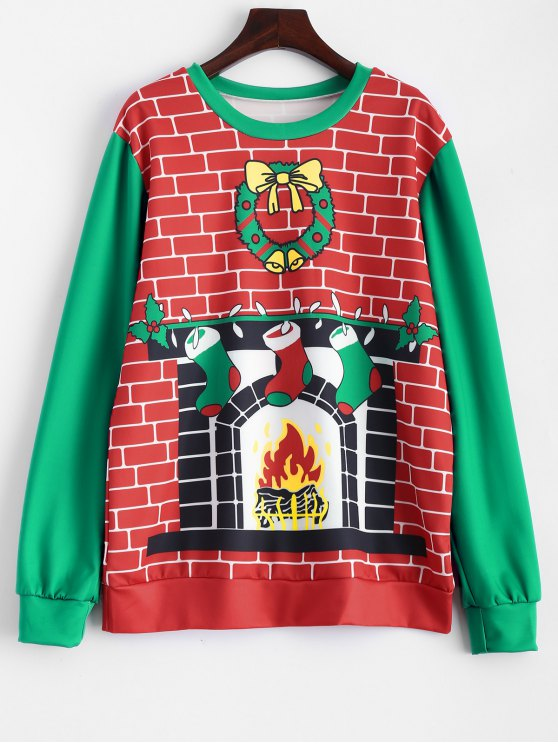 outfits Christmas Fireplace Sweatshirt - RED AND GREEN ONE SIZE