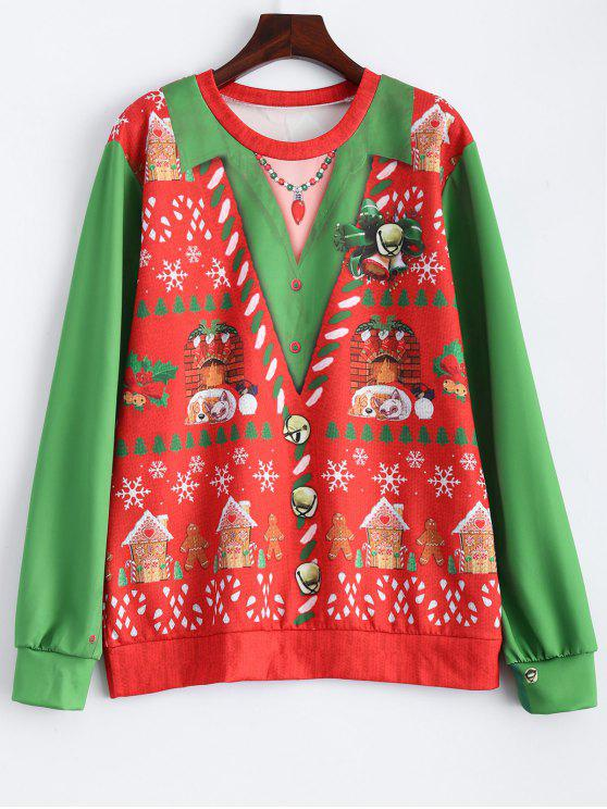 shop Christmas Snowflake Pattern Sweatshirt - RED AND GREEN ONE SIZE