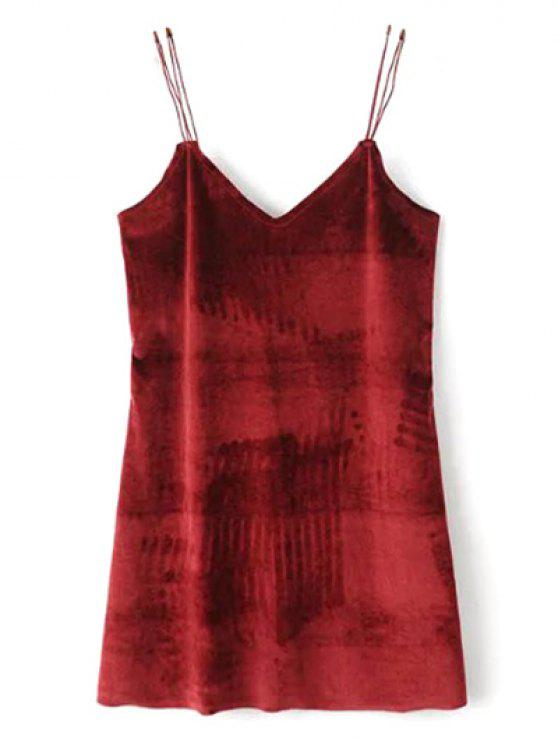trendy Strapy Velvet Mini Dress - BURGUNDY S