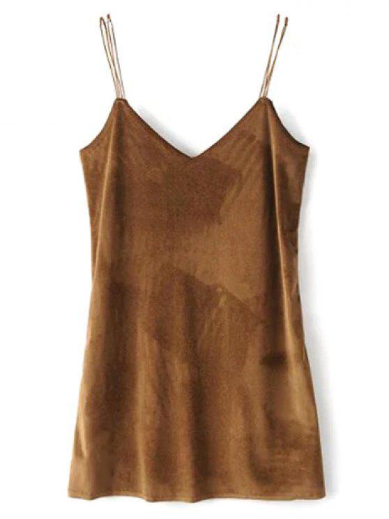 fancy Strapy Velvet Mini Dress - BROWN S