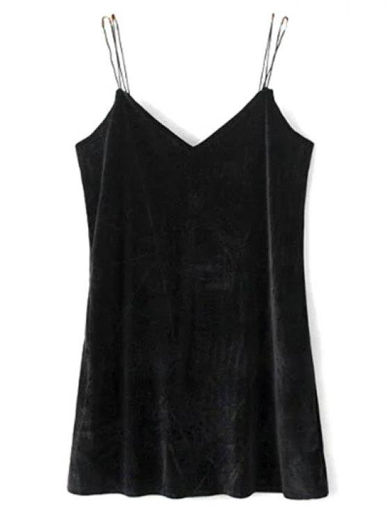 affordable Strapy Velvet Mini Dress - BLACK S