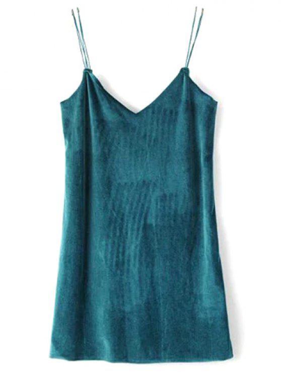 women Strapy Velvet Mini Dress - PEACOCK BLUE S