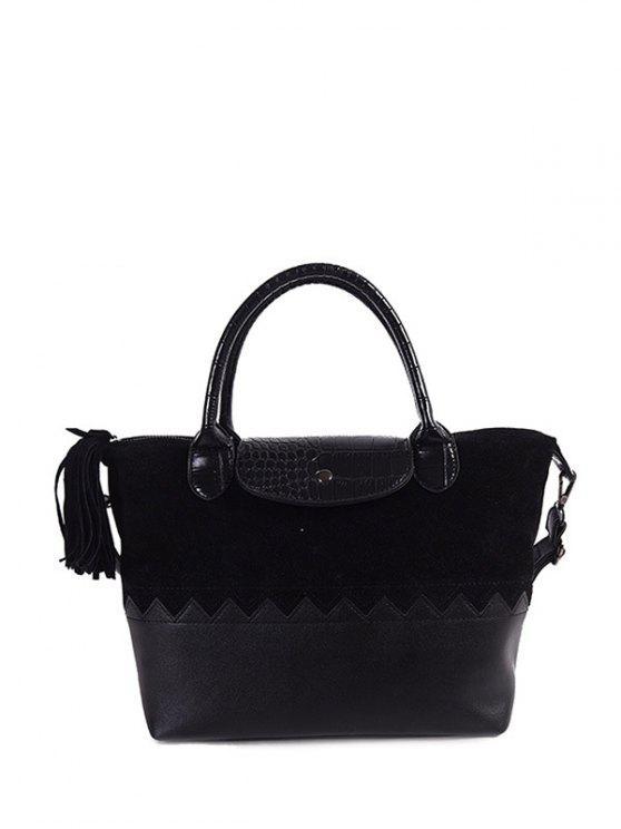 fancy Suede Panel Color Block Tassel Handbag - BLACK