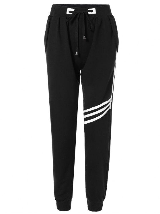 Pantalon Sportif rayé avec cordon de serrage - Noir TAILLE MOYENNE