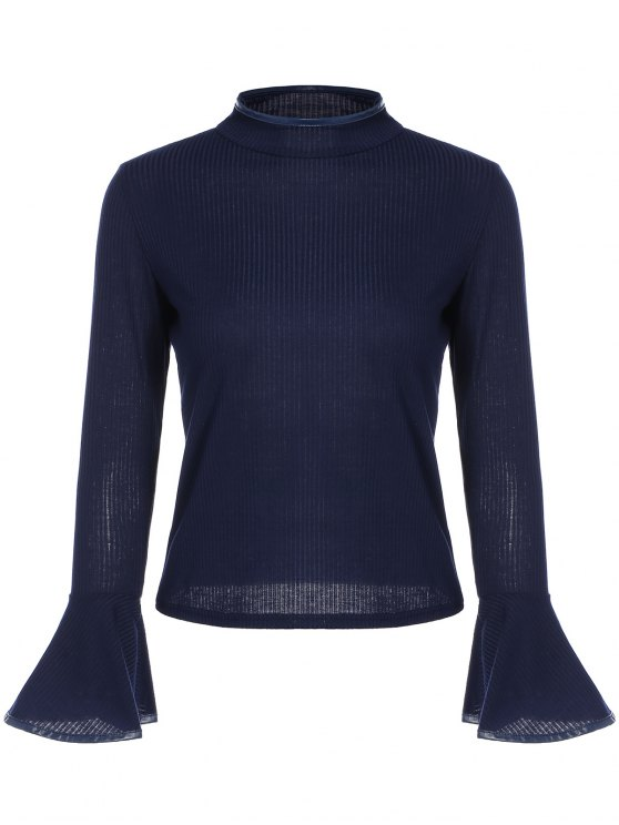 sale Bell Sleeve Leather Edge T-Shirt - CADETBLUE ONE SIZE