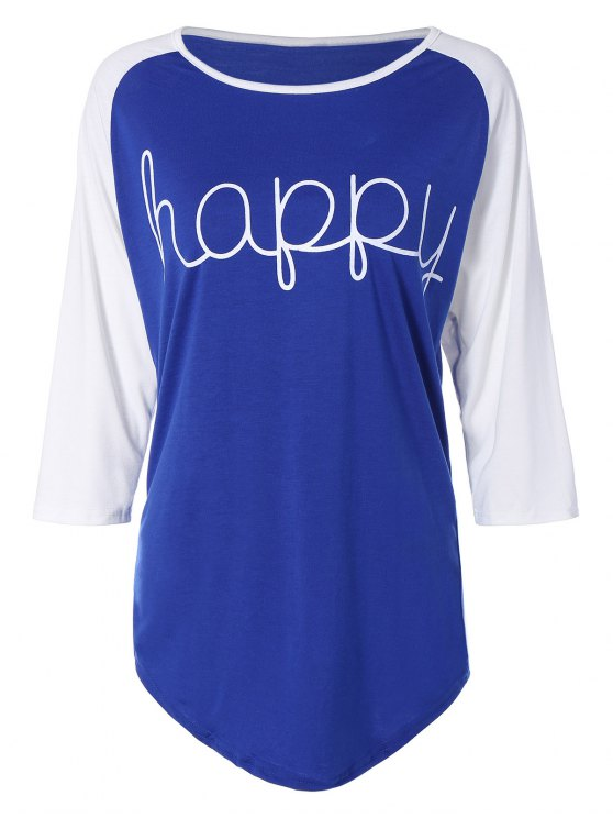 women Color Block Happy T Shirt - BLUE XL