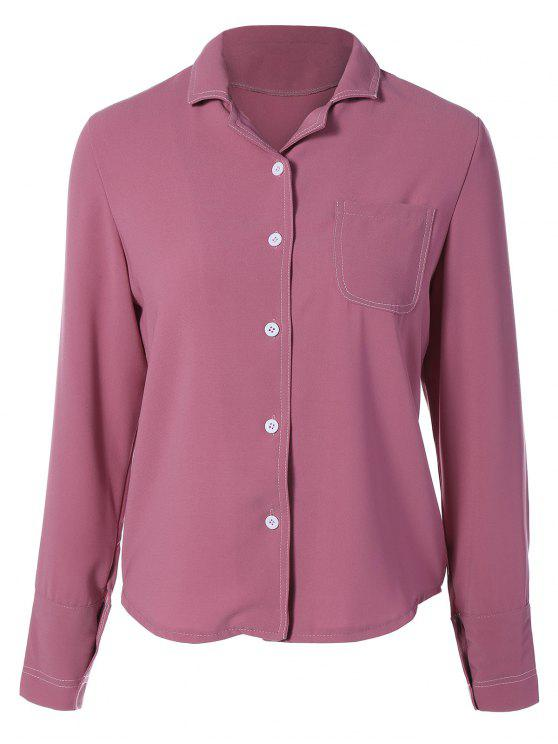 online Single-Breasted Lapel Collar Shirt - WINE RED M