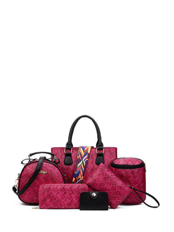 Ensemble sac à main, 2 sacs à bandoulière, portefeuille, sac cartes, wristlet - rose