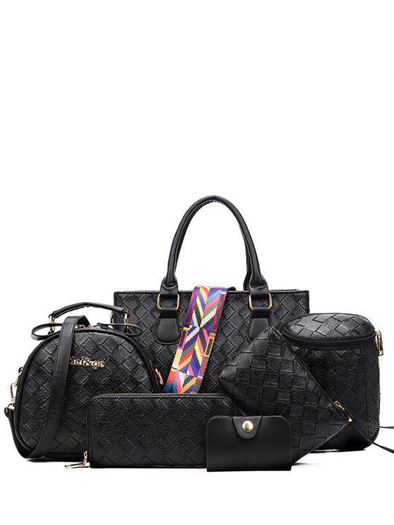 Tejiendo bolso con correa de color - Negro
