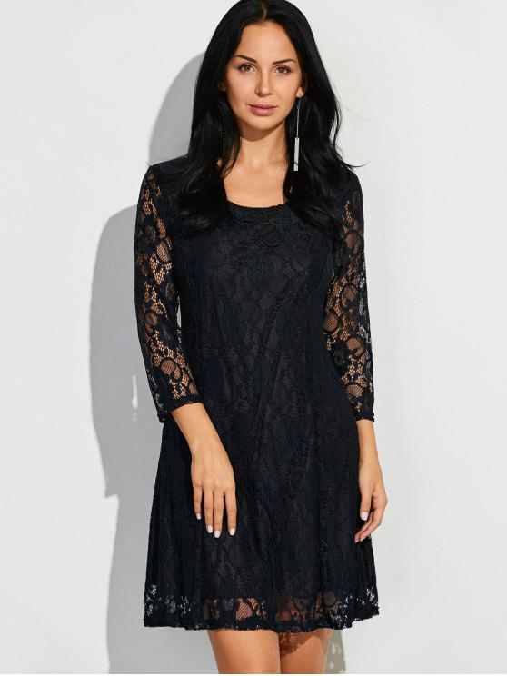 hot Short Lace Dress With Sleeves - BLACK M