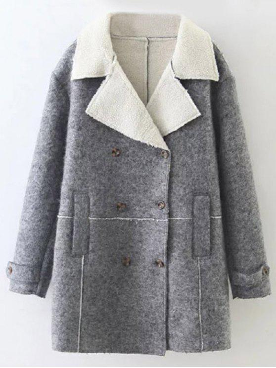 women's Double Breasted Fleece Lined Coat - GRAY S