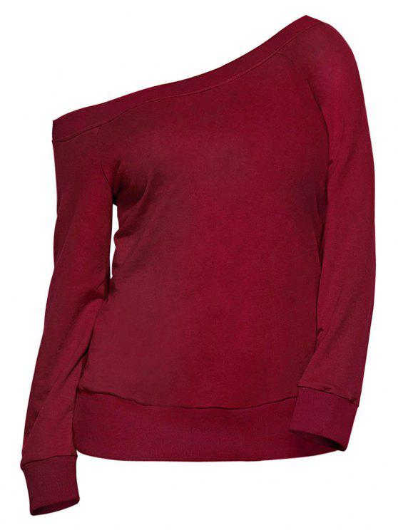 women's Pullover One Shoulder Sweatshirt - BURGUNDY L