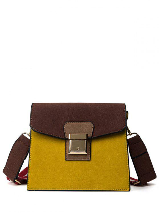 affordable Colour Spliced Metal Covered Closure Crossbody Bag - LEMON YELLOW