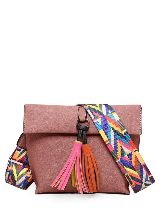 buy Tassels Magnetic Closure Colour Block Crossbody Bag - PINK