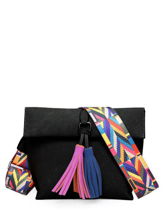 Tassels Magnetic Closure Color Block Crossbody Bag - Preto