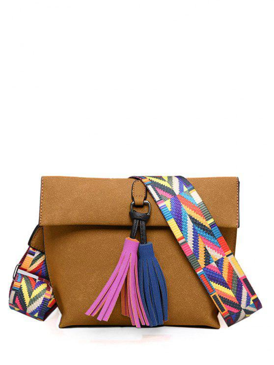 Tassels Magnetic Closure Color Block Crossbody Bag - Marrom Claro