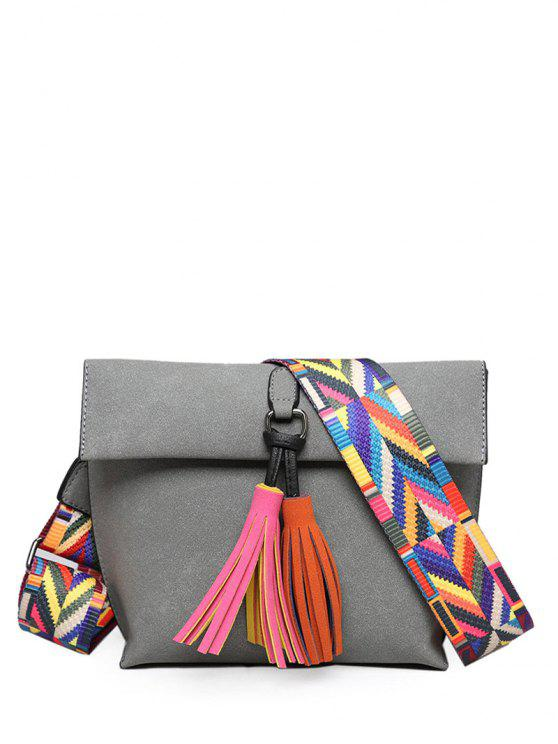 Tassels Magnetic Closure Color Block Crossbody Bag - Cinza