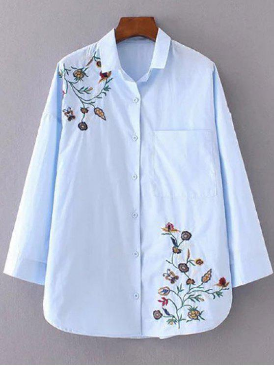 online Floral Embroidered Shirt Neck Shirt - AZURE M