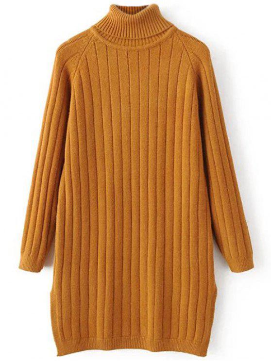 Jersey de cuello de punto acanalado suéter largo - Terroso Única Talla
