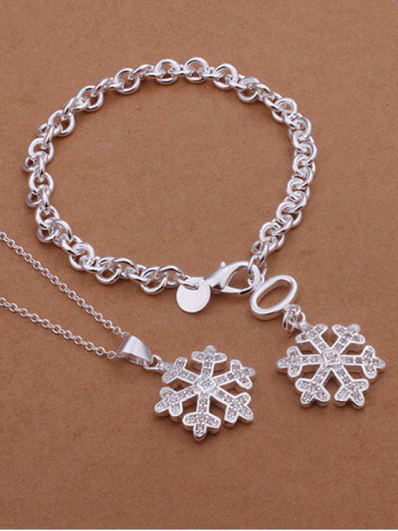 Colar do floco de neve e bracelete - Prateado