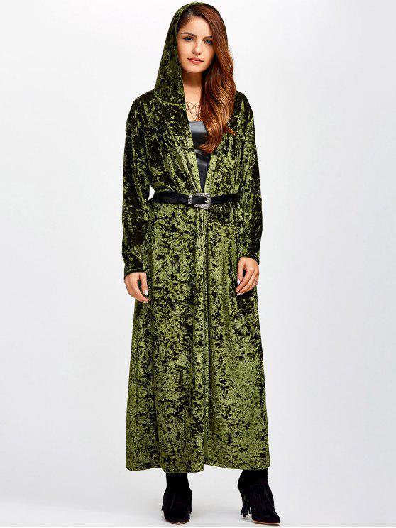 Manteau maxi ouvert devant en velours - Vert TAILLE MOYENNE