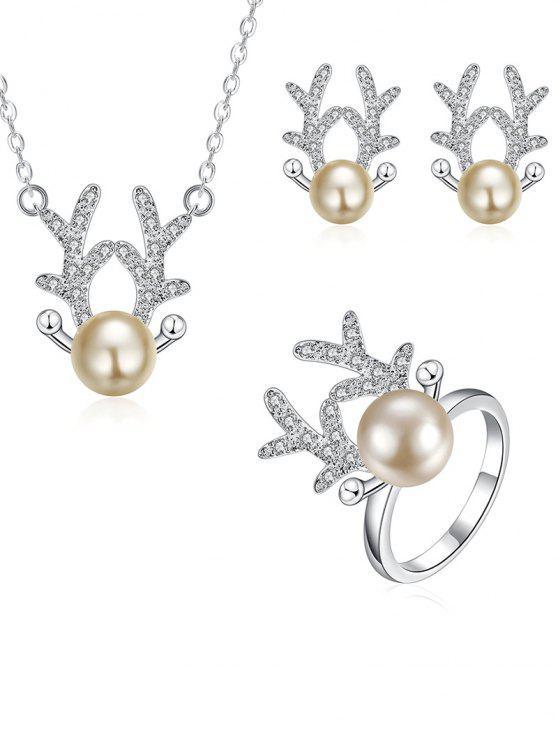 Rhinestoned Natal Elk conjunto de jóias - Prata