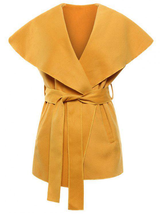 Mezcla de lana con cinturón Chaleco cuello esmoquin - Amarillo S