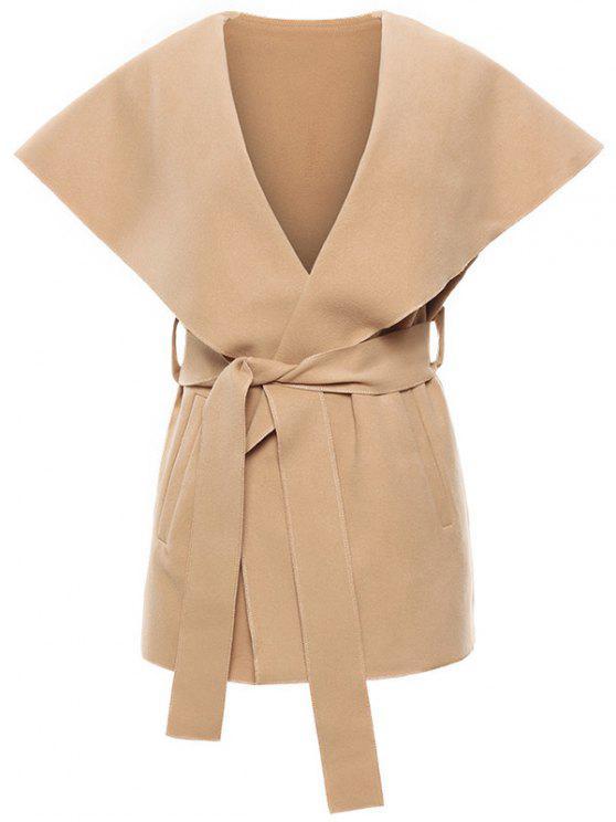 fashion Wool Blend Shawl Collar Belted Waistcoat - KHAKI XL