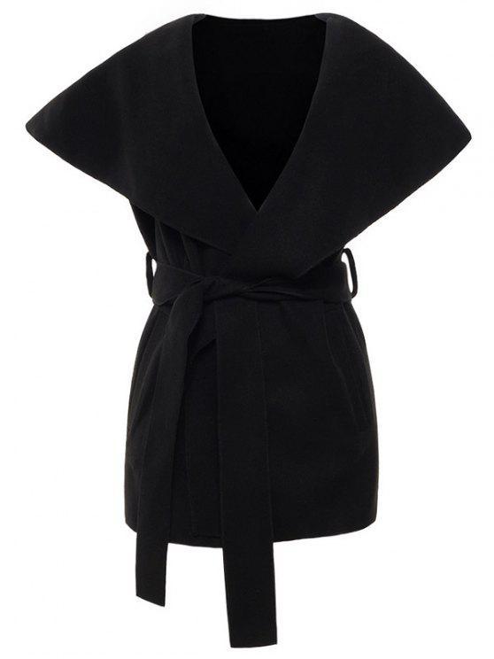 sale Wool Blend Shawl Collar Belted Waistcoat - BLACK XL
