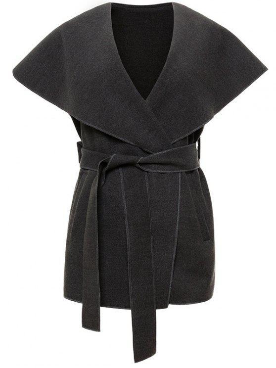 ladies Wool Blend Shawl Collar Belted Waistcoat - DEEP GRAY M