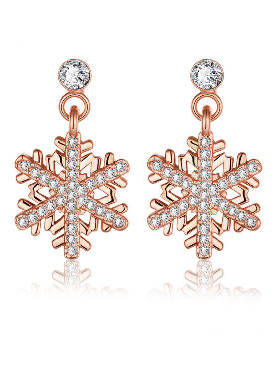 best Rhinestoned Christmas Snowflake Earrings - ROSE GOLD