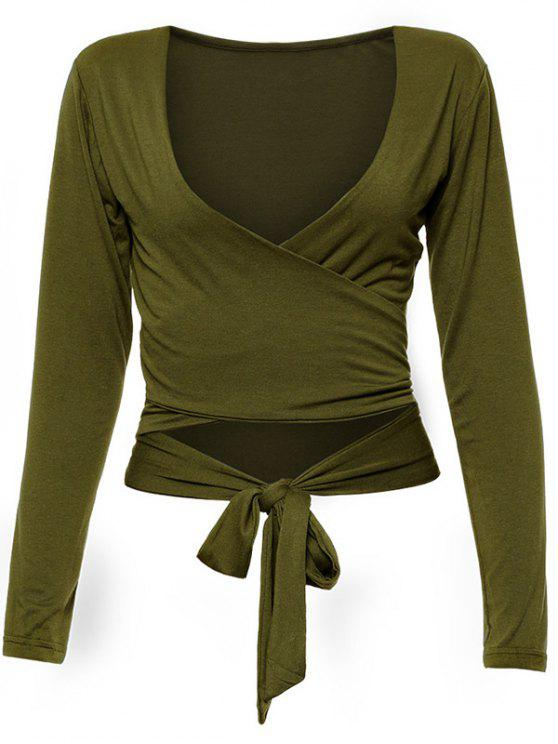 shops Long Sleeve Wrap Front Criss Cross Crop Top - ARMY GREEN L
