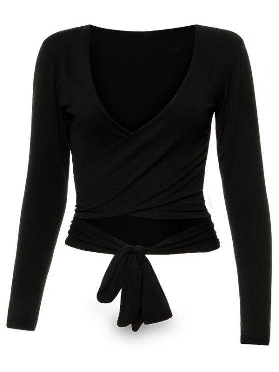 womens Long Sleeve Wrap Front Criss Cross Crop Top - BLACK S