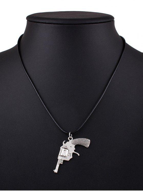 Collier en PU à pendentif en forme de pistolet - Noir