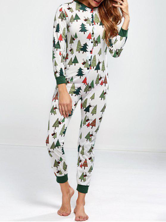fashion Christmas Tree Print Pajamas - GREEN L