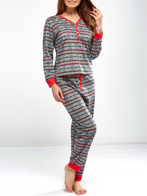 unique Christmas Snowflake Printed Pajamas - LIGHT GRAY XL