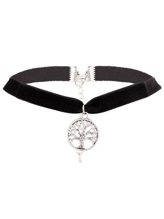 womens Adorn Life Tree Velvet Choker Necklace - SILVER