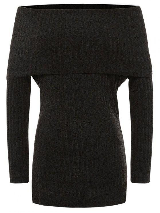 Robe-chasuble en tricot strié à épaules dégagées - Noir S