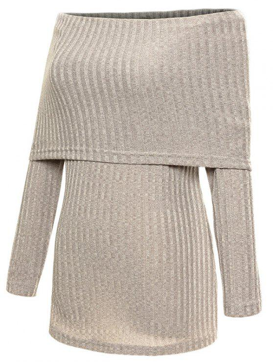 shops Foldover Off The Shoulder Jumper - GRAY S